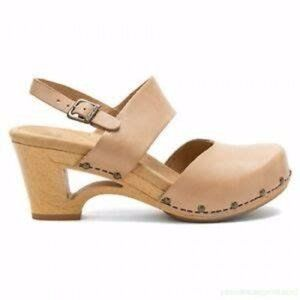 Dansko 39 Tan Thea Cut out Heel Mary Jane Clogs